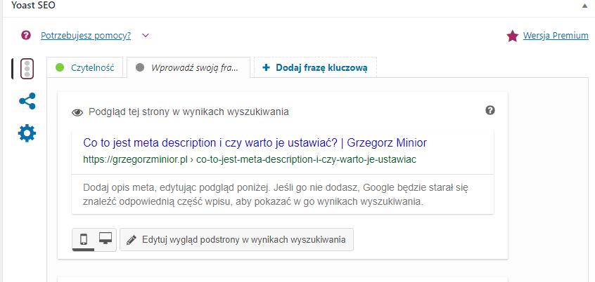 konfiguracja meta opisu w yoast seo