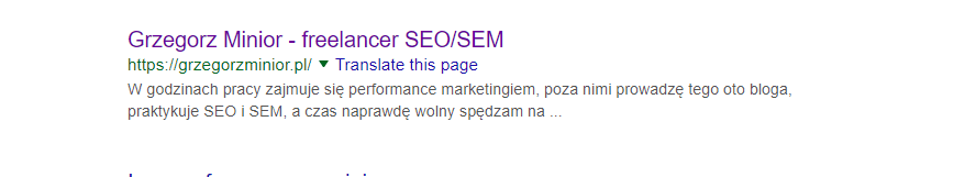 meta description w serp