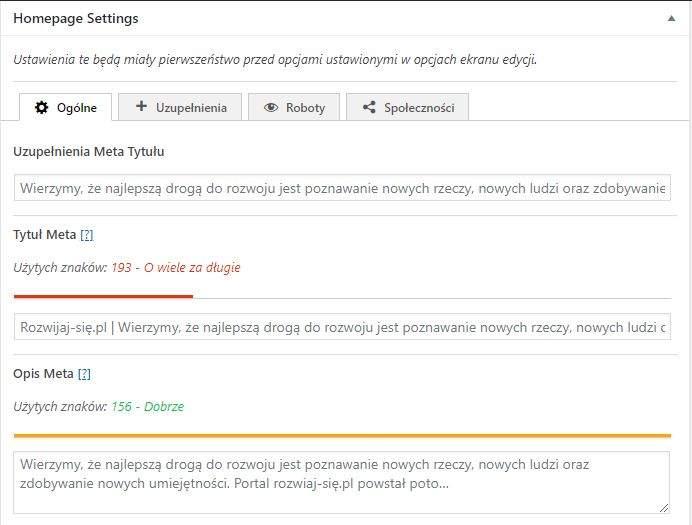 framework seo ustawienia strony glownej