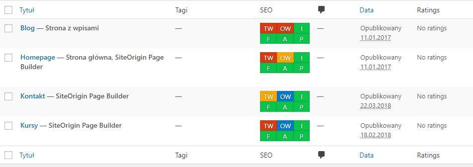 kontrolki seo framework lista wpisow