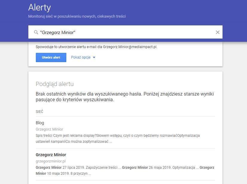 Google Alert - Grzegorz Minior
