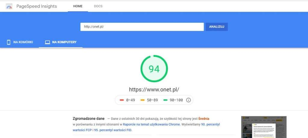 Google Pagespeed - Grzegorz Minior