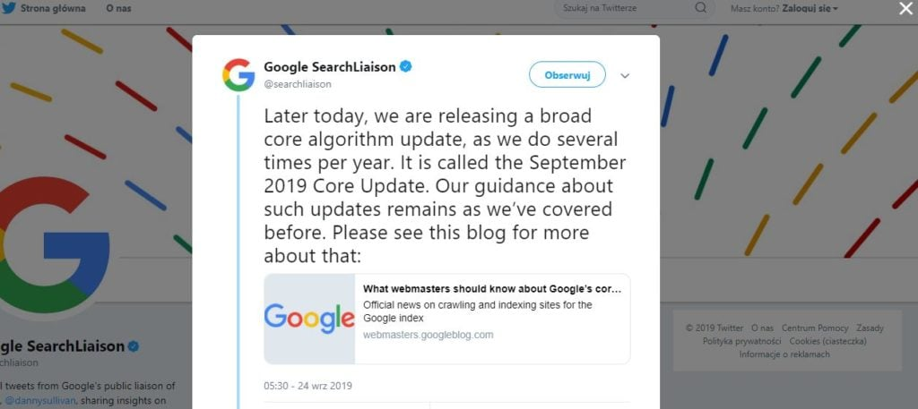 aktualizacja algorytmu wzrzesień - tweet google