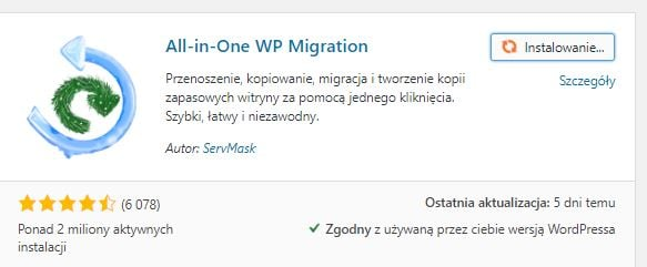 instalacja all-in-one-wp-migrate